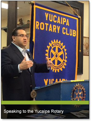 Speaking to the Yucaipa Rotary