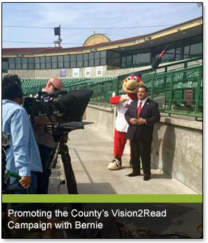Promoting the County's Vision2Read Campaign with Bernie