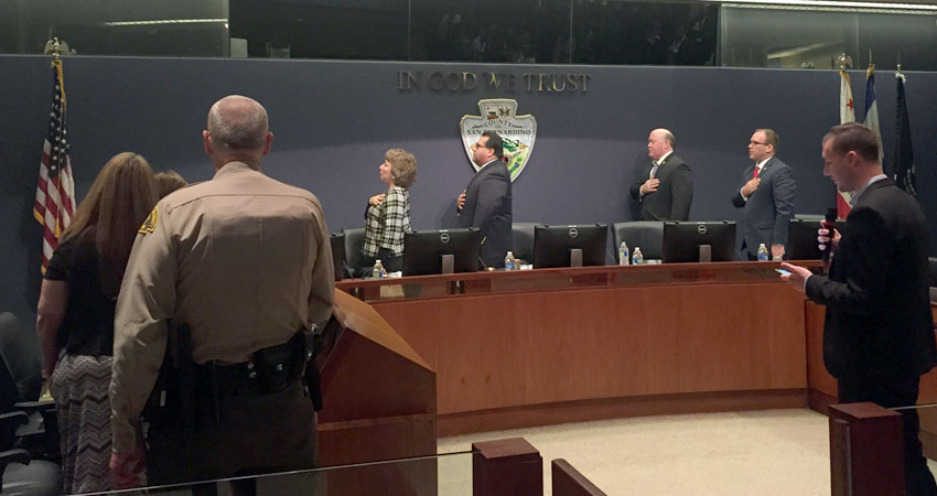 Pastor Andrew Stoecklein leading the Board of Supervisors in the Pledge of Allegiance