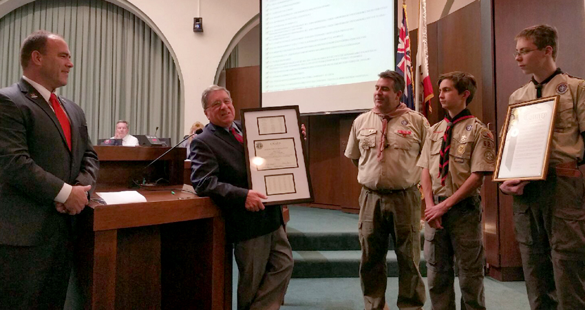 Presenting a Certificate of Recognition to Upland's Troop 623
